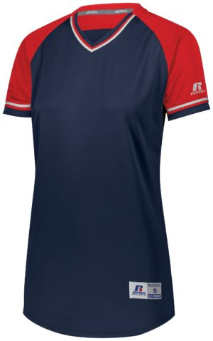 Russell LADIES CLASSIC V-NECK JERSEY NAVY/TRUE RED/WHITE