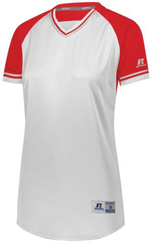 Russell LADIES CLASSIC V-NECK JERSEY WHITE/TRUE RED/WHITE