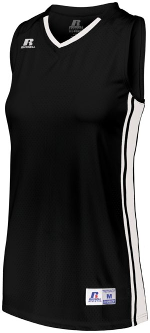 Russell Ladies Legacy Basketball Jersey BLACK/WHITE