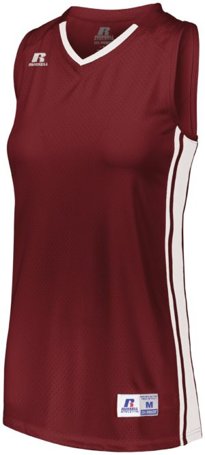 Russell Ladies Legacy Basketball Jersey CARDINAL/WHITE