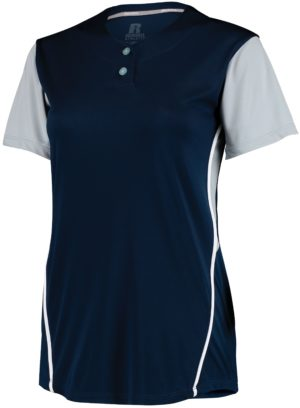 Russell Ladies Performance Two-Button Color Block Jersey NAVY/BASEBALL GREY