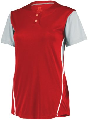 Russell Ladies Performance Two-Button Color Block Jersey TRUE RED/BASEBALL GREY