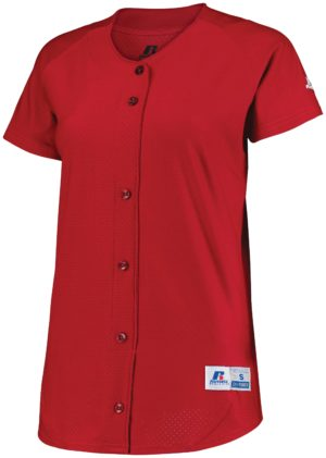 Russell Ladies Stretch Faux Button Jersey TRUE RED