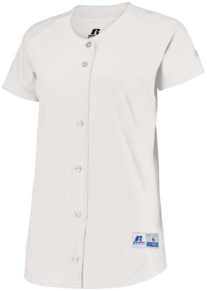 Russell Ladies Stretch Faux Button Jersey WHITE