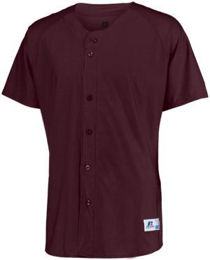 Russell Raglan Sleeve Button Front Jersey MAROON