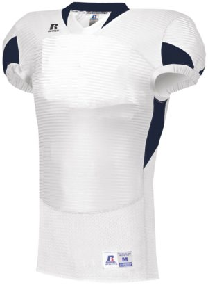 Russell Waist Length Football Jersey WHITE/NAVY