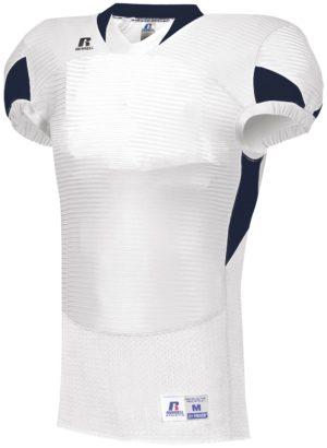 Russell Waist Length Football Jersey WHITE/NAVY