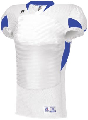 Russell Waist Length Football Jersey WHITE/ROYAL