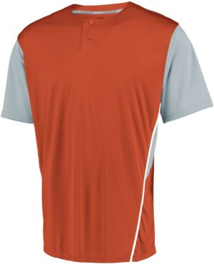 Russell Performance Two-Button Color Block Jersey BURNT ORANGE/BASEBALL GREY