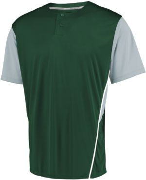 Russell Performance Two-Button Color Block Jersey DARK GREEN/BASEBALL GREY
