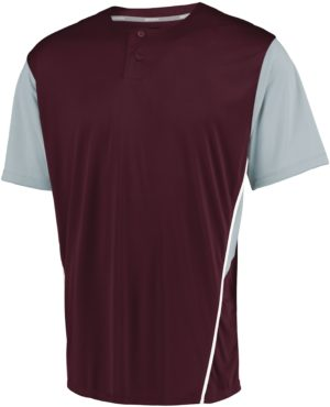 Russell Performance Two-Button Color Block Jersey MAROON/BASEBALL GREY